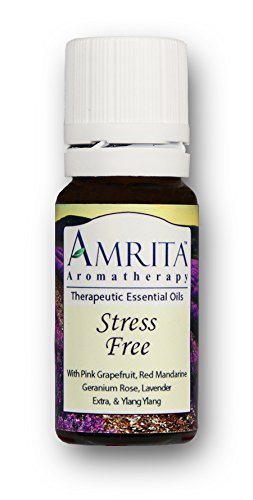 AMRITA Aromatherapy: Stress Free Synergy Blend (Natural Stress Reducer) Blend with Essential oils of Pink Grapefruit, Red Mandarin, Rose Geranium, Ylang Ylang Complete & Lavender Extra SIZE: 10ML