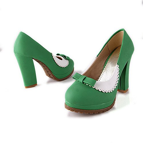 Material Heels PU High Green with Pumps Toe VogueZone009 Platform Soft Bowknot Womens Solid Round Toe and Closed A0Swg