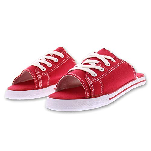 Ace Lace Up Sandals for Women,Athletic Slide Sandals,Canvas Shoes,Sports Slides Red 8 - Women Sneakers Red Stripes