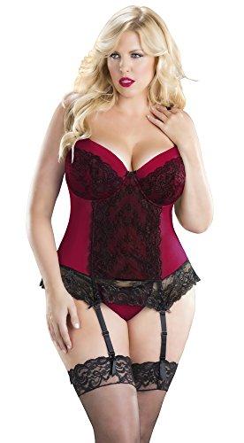 Oh La La Cheri Women's Plus Size Tease Me Overlace Lace Bustier