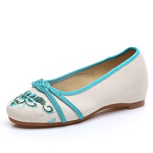 ZLL Gestickte Schuhe, Sehnensohle, ethnischer Stil, weibliche Tuchschuhe, Mode, bequem, lässig green