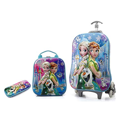 3PCS/set, Kids luggage with wheels for girls, Children Schoolbag, Kids suitcase with Anna and Elsa, kids luggage frozen (multicolored) (Disney Frozen Rolling Luggage)