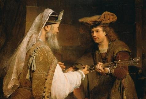 - Oil Painting 'Ahimelech Giving The Sword Of Goliath To David,1680s By Aert De Gelder' Printing On Perfect Effect Canvas , 8x12 Inch / 20x30 Cm ,the Best Bathroom Decoration And Home Decor And Gifts Is This Reproductions Art Decorative Prints On Canvas