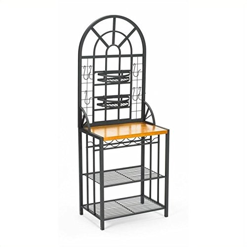 Dome Bakers Rack w/ Wine Bottle Storage - Adjustable Nesting Baskets - Metal Tube Frame by SEI