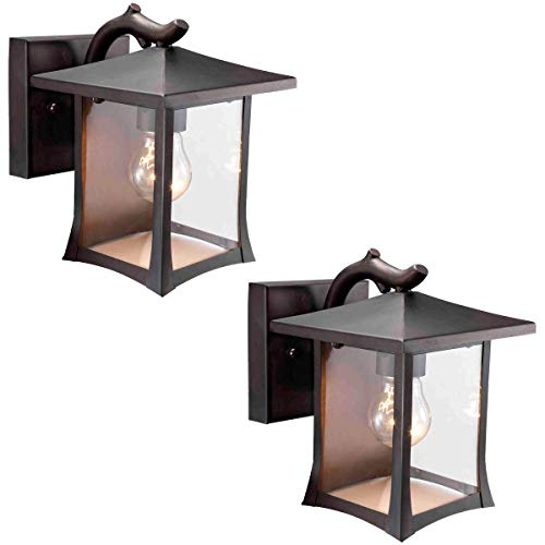 Twin Pack - Designers Impressions 73474 Black Mission Style Outdoor Patio/Porch Wall Mount Exterior Lighting Lantern Fixtures with Clear Glass Capitol Outdoor Wall Lantern