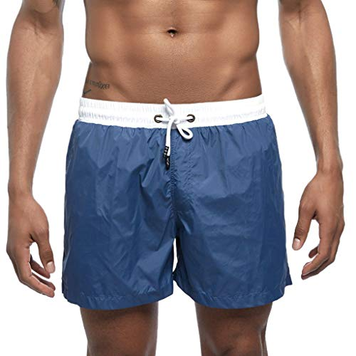 (Sunyastor Men's Beach Shorts Swim Trunk Quick Dry Side Pockets Casual Surf Yoga Water Jogging Training Lightweight Shorts Navy)