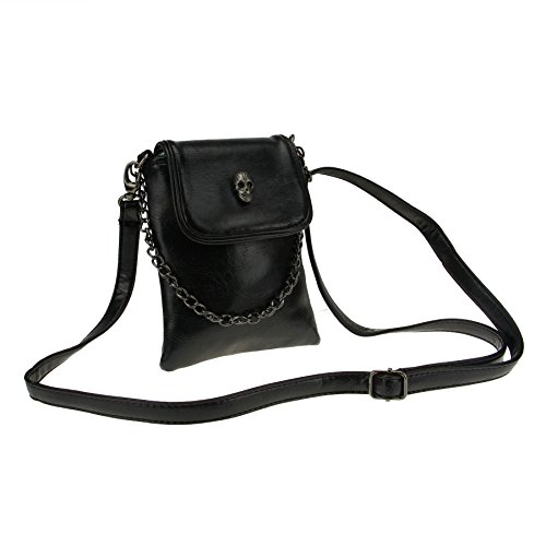 Studded Skull Gothic Mini Chain Crossbody Shoulder Bag Satchel Travel Leather Tote Handbag Purse ()