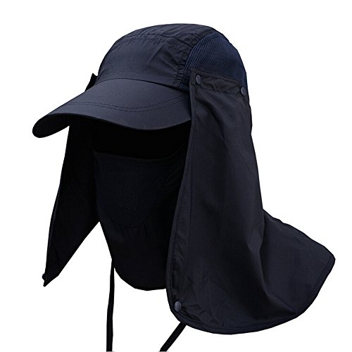 [Ezyoutdoor Outdoor Jungle Fishing 360 Degree UV Protection Sun Block Hat Folding Visor Nylon Cap Mesh Bucket Flap Hats] (Pork Pie Hat For Sale)