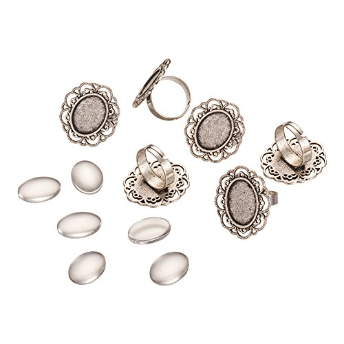 Pandahall 10 Sets Antique Silver 13x18mm Oval Transparent Glass Cabochons and Iron Flower Finger Ring Components Alloy Cabochon Bezel Settings for Ring Making-Style 1