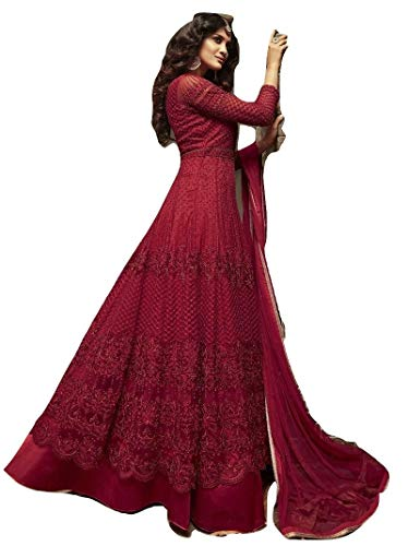 Indian/Pakistani Ethnic wear Georgette Suit Anarkali Salwar Kameez Party Wear (Red, XXL-46)