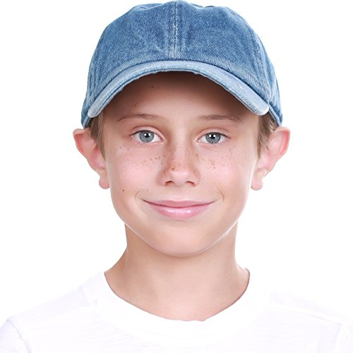 KBC-13LOW MDM (2-5) Kids Boys Girls Hats Washed Low Profile Cotton and Denim Plain Baseball Cap Hat Unisex Headwear -