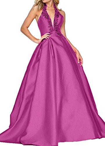 Abendkleider Damen linie Satin Charmant ausschnitt Partykleider V Lang Neckholder Rock Pink Brautjungfernkleider A wZTpqdpXx