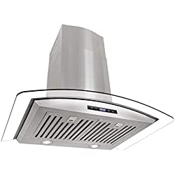 Cosmo 668AS750 30 in. Wall Mount Range Hood with Tempered Glass Visor, Soft Touch Controls, LED Lighting and Permanent Filters