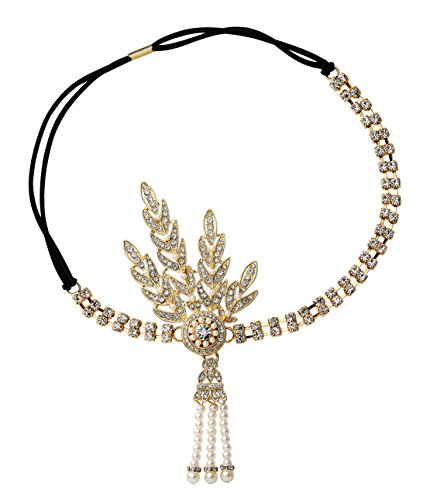 Best Original Costumes For Couples (BABEYOND 1920's Flapper Headband Great Gatsby Inspired Headpiece 1920s Flapper Gatsby Accessories Art Deco Hair Accessories Headband (Gold))