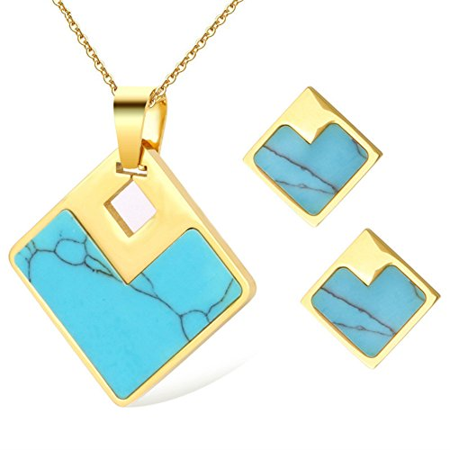 LUREME Women's Stainless Steel Jewelry Sets Turquoise Square Pendant Necklace Stud Earrings (js000763-2)