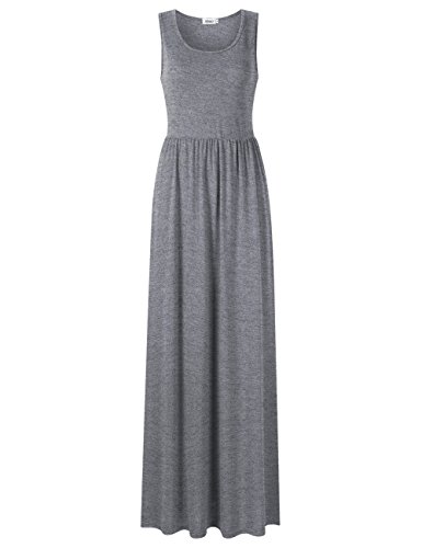 MISSKY Women Sleeveless Pocket Solid Round Neck Ruched Casual Maxi Dresses For Women Heather Grey (Heather Grey Sleeveless)