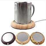 ETbotu Portable USB Electric Mug Cup Warmer Tea Coffee Beverage Heating Pad Mat Keep Drink Warm Heater Light Wood Texture