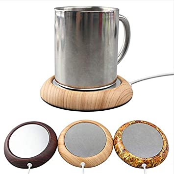 ETbotu Portable USB Electric Mug Cup Warmer Tea Coffee Beverage Heating Pad Mat Keep Drink Warm Heater Light Wood Texture