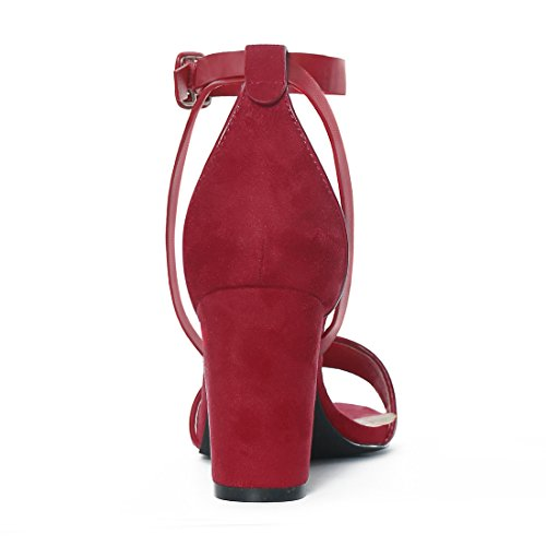 Heel PU 5 Sandals Piped K Panel Ankle Chunky Allegra Women Deep HJ284 Red Strap IxA8cBS