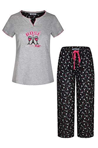 (SofiePJ Women's Embroidery Pure Cotton Sleepwear Capri Set Gray Black M(542571))
