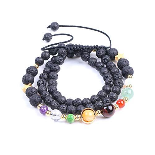Eight Planets Bracelet Strand Handmade Natural Geomestone Volcanic Rock Three-layer Round Beads Bracelet Necklace for Women Men(Three-layer bracelet)