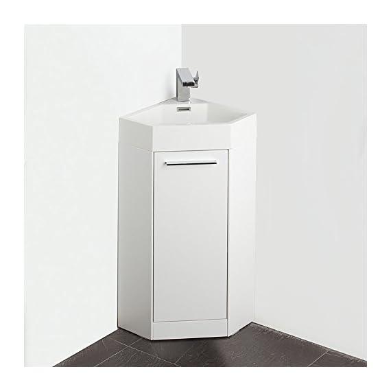"""Fresca FVN5082WH-FFT1030BN Coda Modern Corner Bathroom Vanity, 14"""", White - Dimensions of Vanity: 14""""W x 14""""D x 34""""H Materials: MDF Cabinet, Acrylic Countertop/Sink with Overflow Soft Closing Door - bathroom-vanities, bathroom-fixtures-hardware, bathroom - 416L0ix4dJL. SS570  -"""