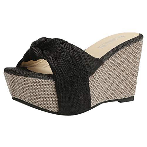 Goddessvan Women's Wedge Beach Sandal Summer Slip-On High Heel Platform Peep Toe Shoes Bow Sandals Black 7' Open Toe High Heel