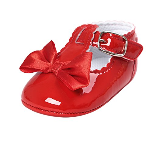 Infant Baby Girl Shoes (BENHERO Baby Girls Soft Sole Bowknot Mary Jane Princess Shoes (infant) (12-18 Monthes/5.12inch, Red))