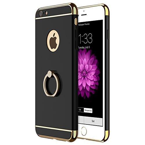 Coque iPhone 6s Plus, Coque iPhone 6 Plus, RANVOO 3 en 1 Coque de Protections, Electro Placage Texture Protector, Excellent Toucher avec 360 Degrés En Alliage De Zinc Support Anneau, Noir