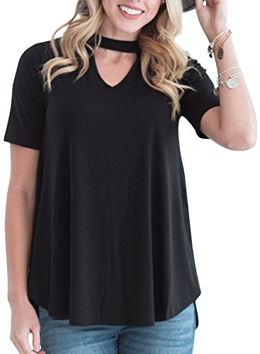 r Casual Short Sleeve Choker T Shirt Tops (Cut Out Solid Cotton)