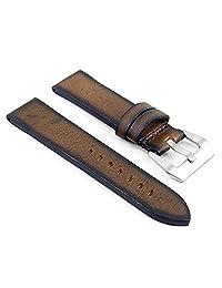 DASSARI Riviera Thick Vintage Italian Leather Watch Strap for Panerai in Brown 24mm
