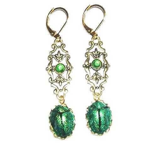 (EGYPTIAN REVIVAL SCARAB Earrings Metallic Green Beetle Victorian Gold Pltd Drops)