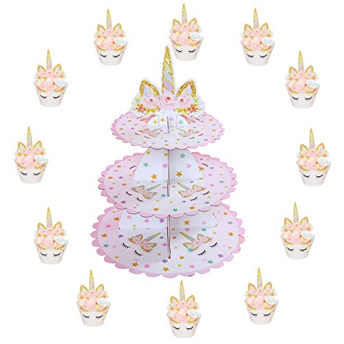 - 3 Tier Unicorn Cake Stand | Unicorn Cupcake Toppers and Wrappers of 12 Set - Unicorn Party Cake Decorations - Unicorn Theme Party Supplies