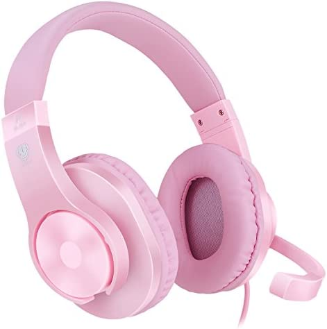 BlueFire 3.5mm PS4 Gaming Headset Bass Stereo Over-Ear Gaming Headphone with Microphone and Volume Control Compatible with PS4, New Xbox One, Xbox One S, Xbox One X, Nintendo Switch, PC(Pink)