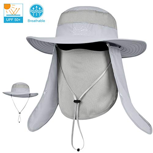 - LCZTN Outdoor Sun Cap for Men & Women Breathable Wide Brim Fishing Hat UPF 50+ UV Protection with Removable Face & Neck Flap for Backpacking Hiking Travel Camping Gardening & Boating(Light Gray)