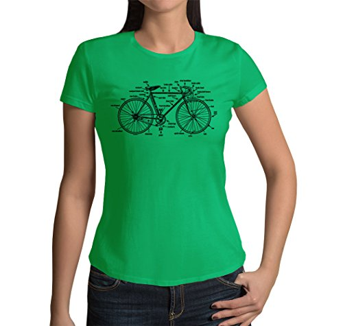 Junior's Anatomy of A Bicycle T-Shirt (Kelly Green, X-Large)