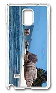 MOKSHOP Adorable Island Rock La Digue Seychelles Hard Case Protective Shell Cell Phone Cover For Samsung Galaxy Note 4 - PC Transparent