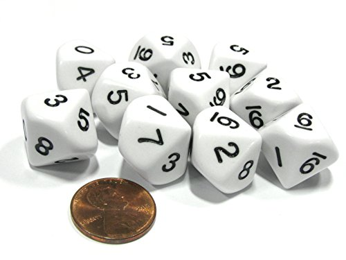- 10 Piece Set of 10-Sided D10 Polyhedral Dice - White with Black Numbers