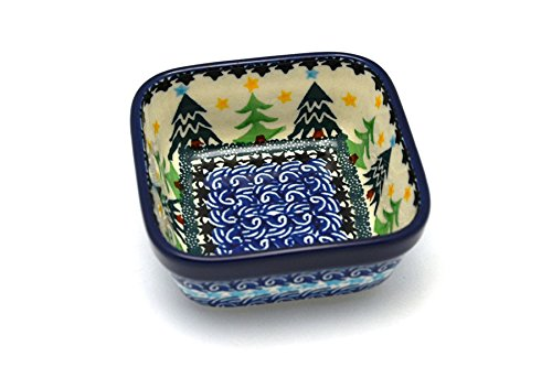 Polish Pottery Ramekin - Square - Christmas Trees (Pottery Christmas Tree Polish)