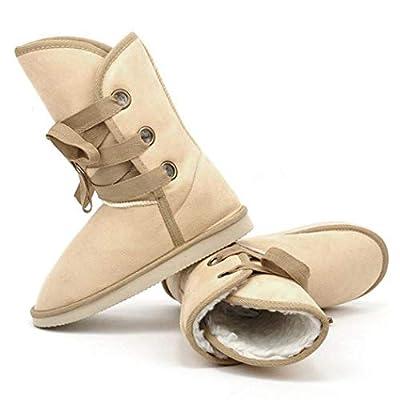 Esqlotres Women Solid Color Keep Warm Flat Heel Shor Snow Boots