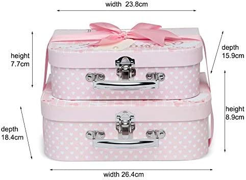 Caja de recuerdos – 2 cajas con cinta de satén y etiqueta de mensaje rosa rosa: Amazon.es: Bebé