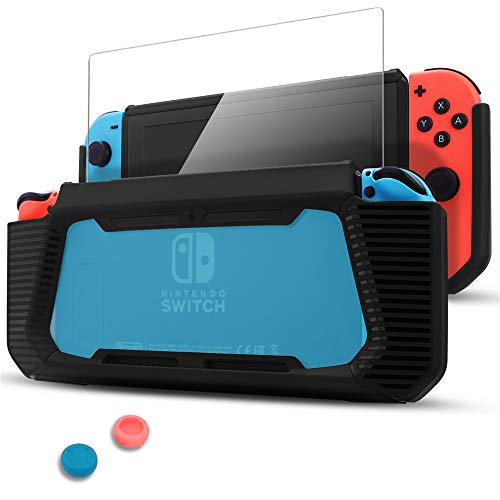 Pakesi Case for Nintendo Switch, Compatible with Nintendo Switch Cover Case with Tempered Glass Screen Protector(Rubber + PC Transparent Back Cover) and Two Thumb Grip for Nintendo Switch -BlackBlue