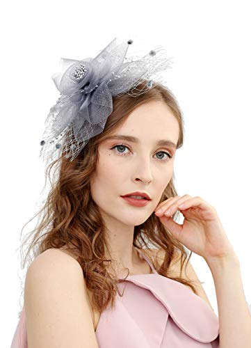 (Fascinators Hats for Women with Hair Clip Tea Party Hats Feather Wedding Headware Bridal 1920s)