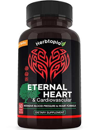 Eternal Heart High Blood Pressure Supplement - Extra Strength Formula to Lower BP Naturally, Boost Blood Flow, Cholesterol Lowering w/CoQ10, Vitamin K2 MK7, Dan-Shen, Hawthorn, Olive Leaf (Best Natural Herbs For High Cholesterol)