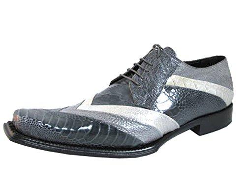 Mauri Men's 44168 Dressy Ostrich Leg Medium Grey Lace up Shoes Grey Size 13