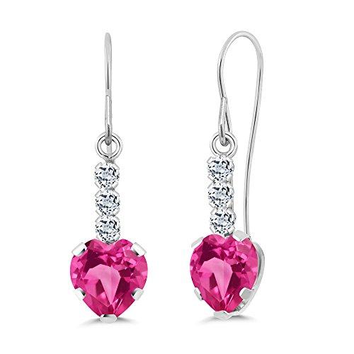 2.38 Ct Heart Shape Pink Created Sapphire White Topaz 14K White Gold Earrings
