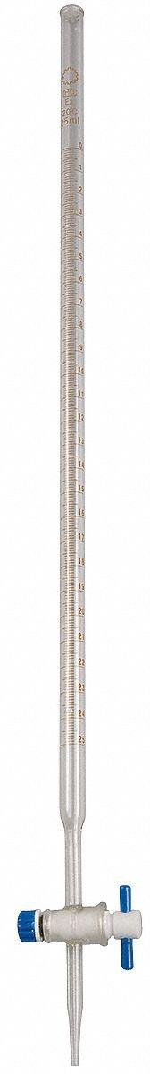 Burette,Glass,25ml.Grade B,PK6 by LAB SAFETY SUPPLY