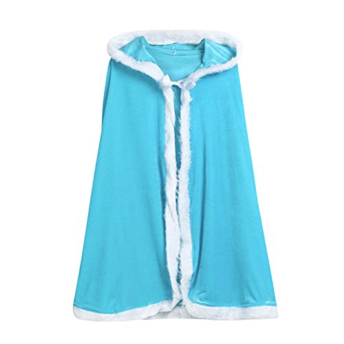 Rucan Childrens' Christmas Costume for Boy Girl Santa Hooded Cosplay Cape Robe (Blue)
