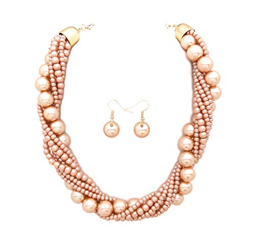Fashion 21 Women's Twisted Multi-Strand Simulated Pearl, Acrylic Ball Statement Necklace and Earrings Set (Light Brown) ()
