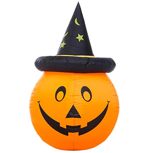 Athoinsu Halloween Lighted Hatted Pumpkin Inflatables Jack-O-Lanterns Air Blown up Decorations Costume Party Supplies Gifts, 47'' (Style 2)